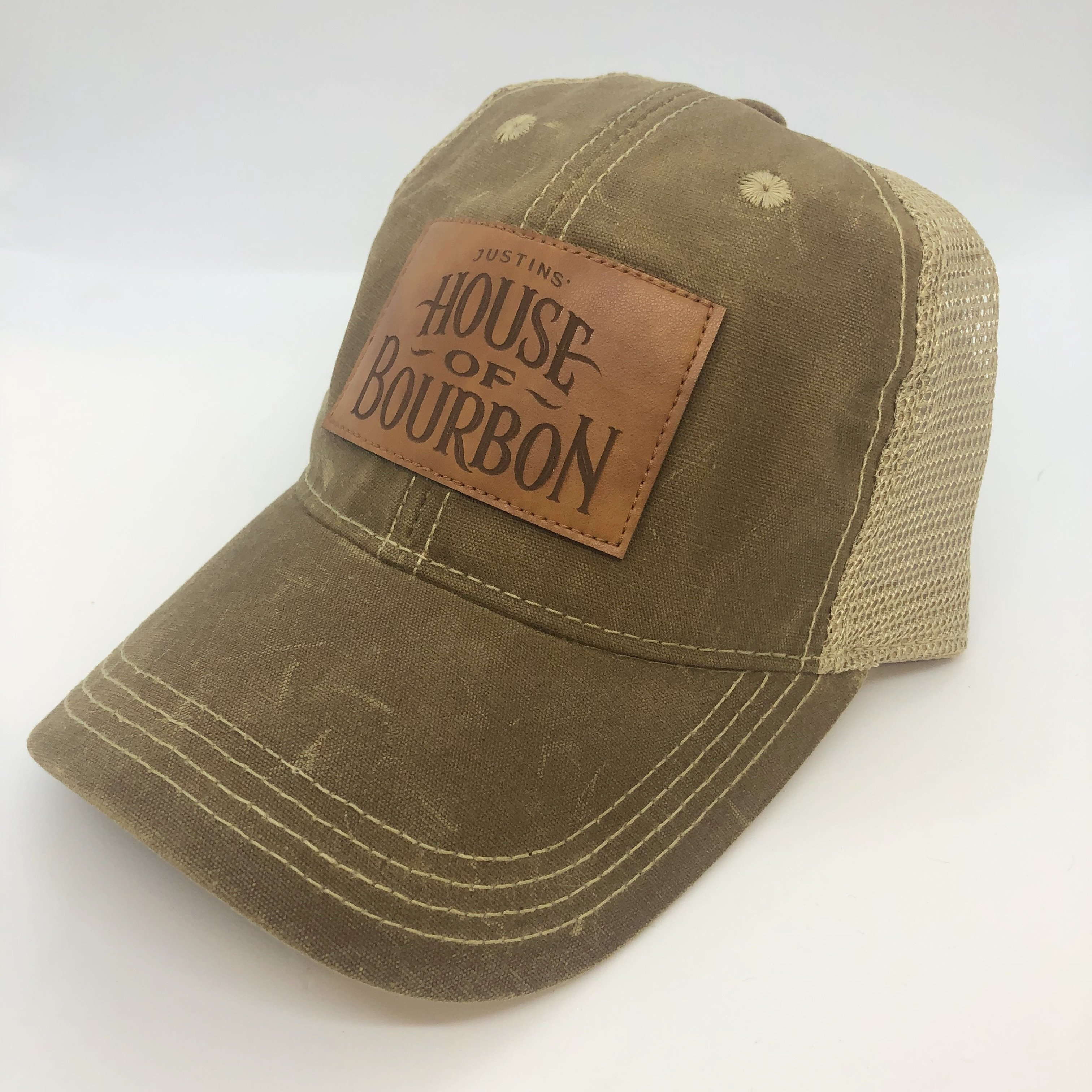 Justins' House of Bourbon Waxed Cotton Trucker Hat