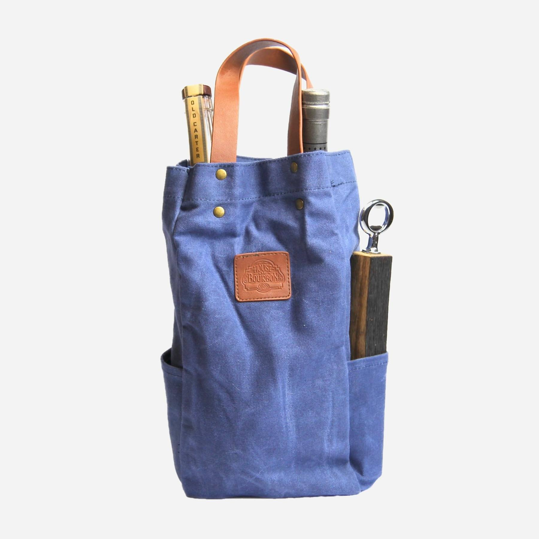 Blue Waxed Canvas Whiskey Tote Bag